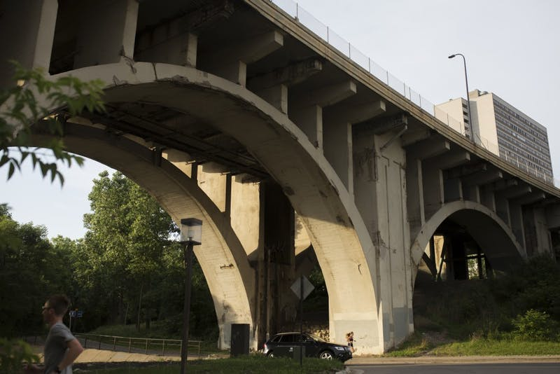 A view of deteriorated concrete areas of columns, beams and arches of the 10th Ave SE Bridge on Friday, June 15.
