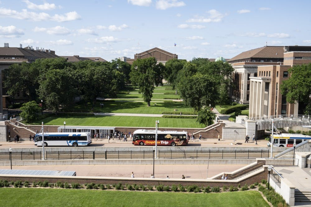 The University of Minnesota's mall area is seen from Coffman Union on Monday, July 22.