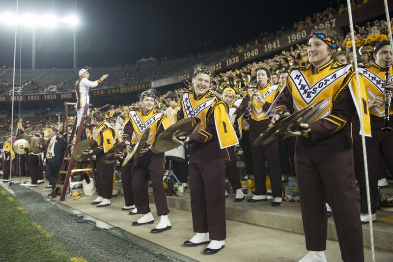The University of Minnesota Marching Band cheers on the Gophers at TCF Bank Stadium on Thursday, Aug. 30. The Gophers defeated the New Mexico State Aggies 48-10.