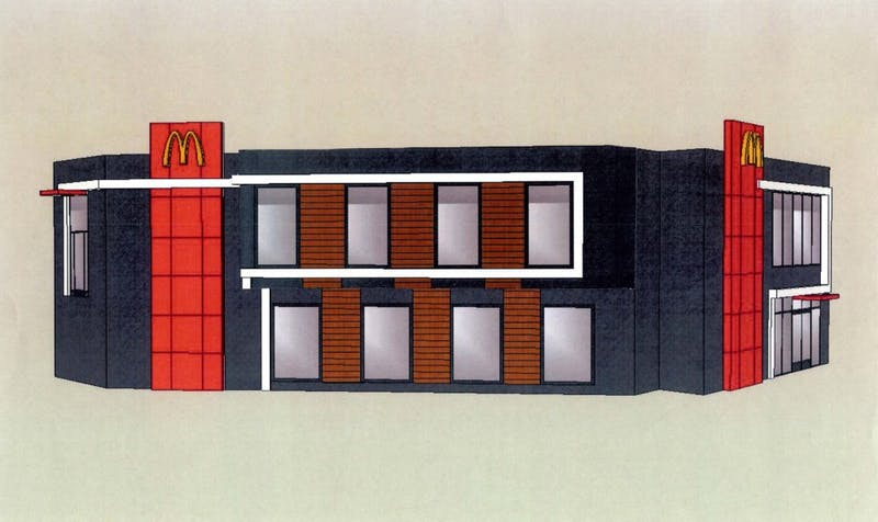 A rendering shows the planned exterior renovation of the Dinkytown McDonald's.
