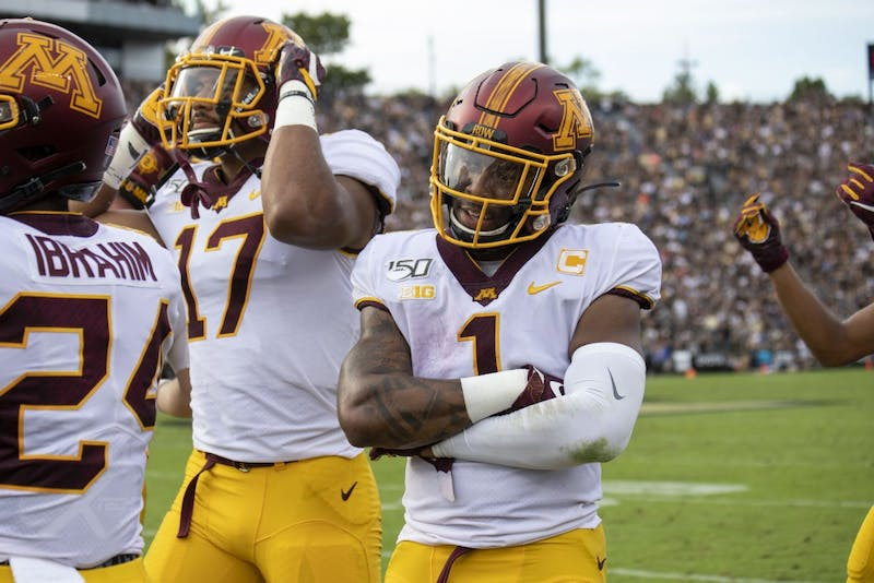 Running back Rodney Smith celebrates a successful play at Ross-Ade Stadium on Saturday, Sept. 28, 2019. The Gophers earned a 38-31 victory over Purdue.