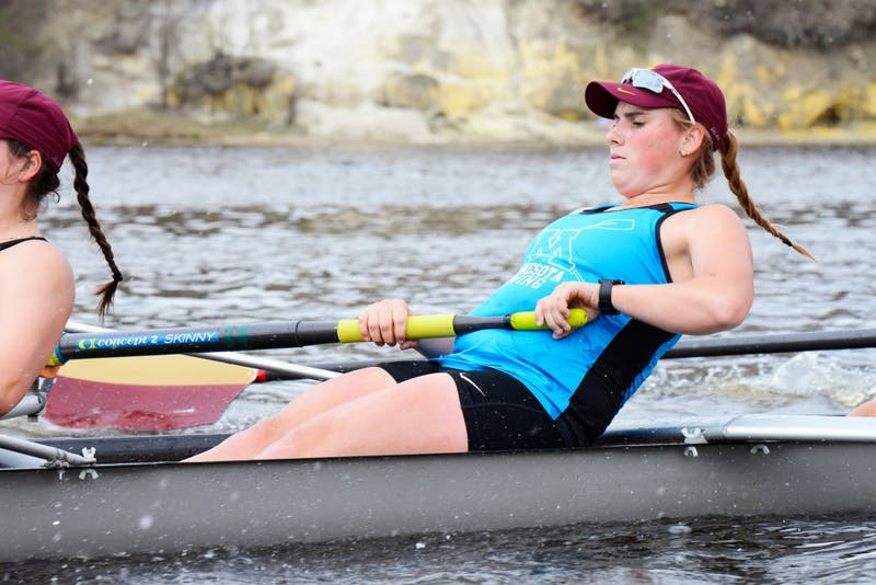 Junior Anna Greene rows during the University's team practice on the Mississippi River on April 18, 2016.