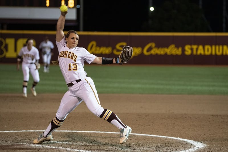 Junior Amber Fiser pitches the ball on Friday, May 17, 2019 at Jane Sage Cowles Stadium in Minneapolis. The Gophers beat North Dakota State University 3-0.