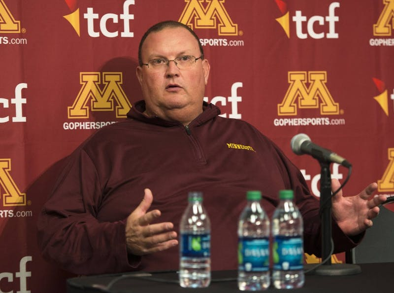 Interim head coach Tracy Claeys speaks at a press conference regarding Jerry Kill's resignation on Wednesday. Kill's departure came as a shock to Claeys and the team.