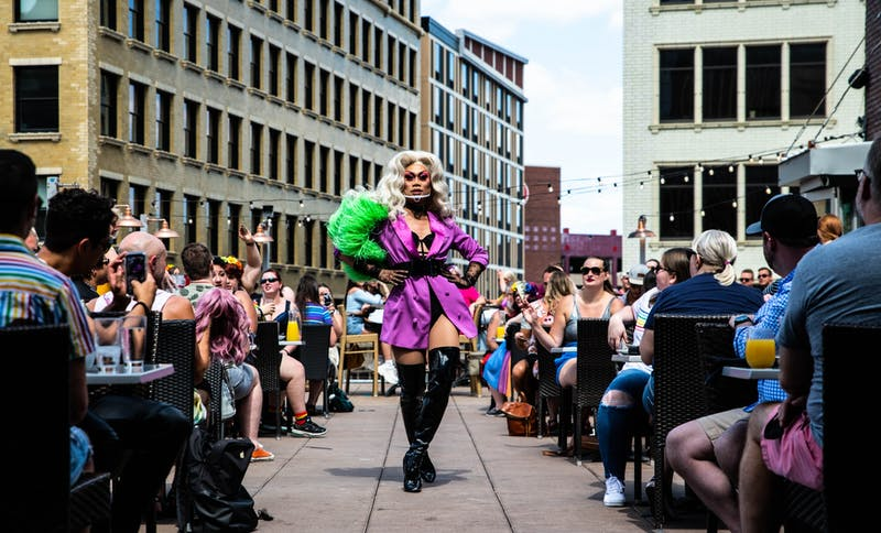 Julia Starr performs at the Pride Drag Brunch at Union Rooftop on Saturday, June 27. With the venue at half-capacity and with face masks required for all patrons, the celebration of Pride continued amidst the COVID-19 pandemic.