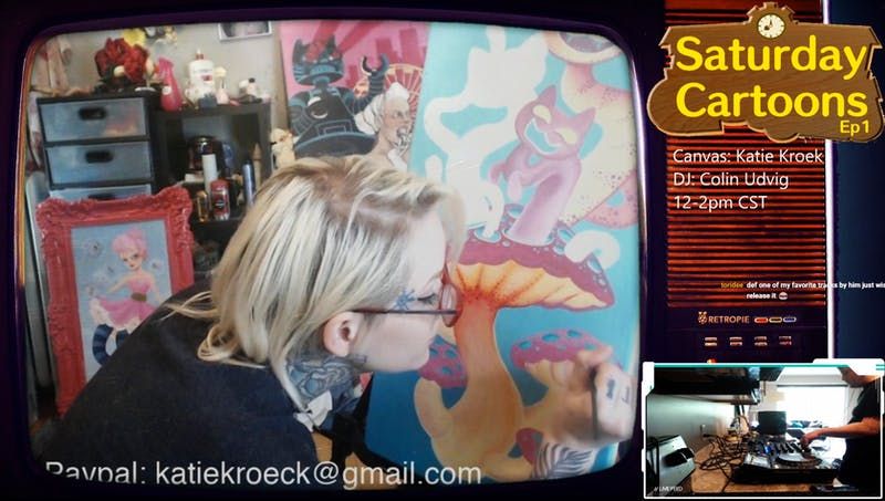 Katie Kroeck, a local tattoo and visual artist, paints while Colin Udvig DJs during the first episode of Saturday Cartoons, which was livestreamed on PaulChangStreams Twitch channel on Saturday, May 23.