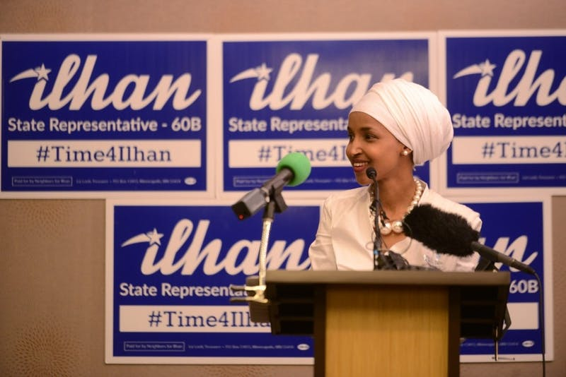 House District 60B-elect Ilhan Omar speaks at her election party on Tuesday, Nov. 8, 2016 at the Courtyard Marriott on West Bank in Minneapolis