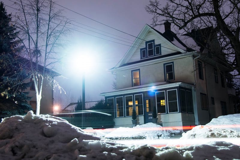 An LED streetlight illuminates a house along Malcolm Avenue Southeast in Prospect Park Tuesday, Jan. 30. Neighbors have expressed concern over the brightness of the new light fixtures as more are built in the neighborhood.