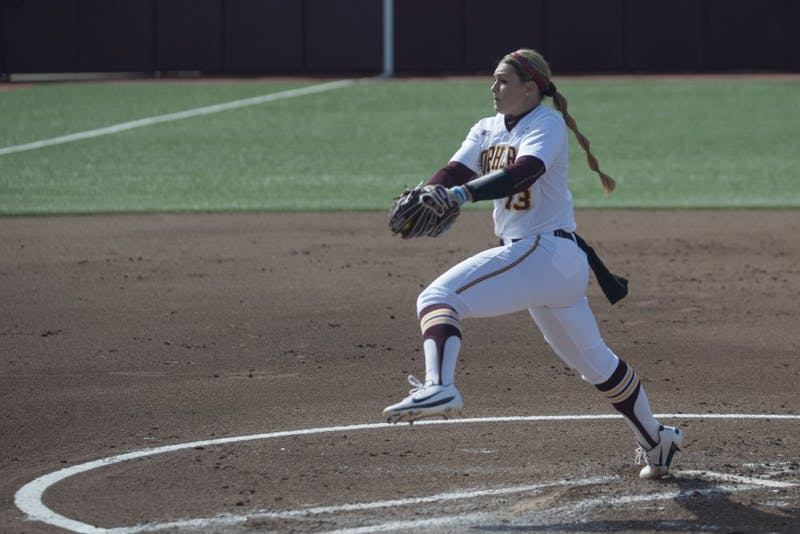 Junior Amber Fiser pitches on Friday, March 29 at Jane Sage Cowles Stadium in Minneapolis. The Gophers beat the Purdue Boilermakers 5-1.