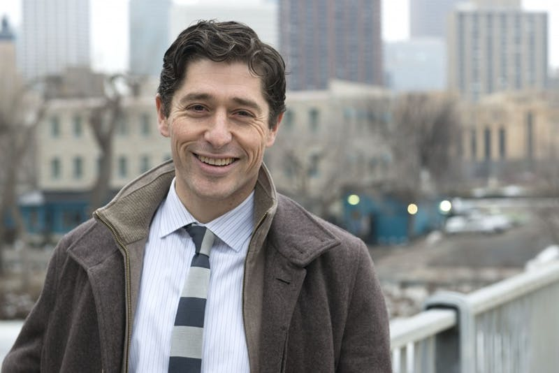 Ward 3 Council Member Jacob Frey poses for a portrait on Hennepin Avenue on Tuesday, Jan. 25, 2017.