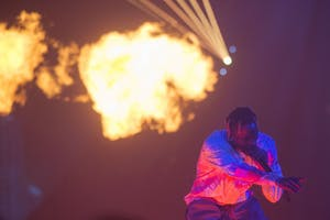 Travis Scott performs at the Target Center on Saturday, Dec. 8 in Minneapolis. The 26-year-old rapper is on his WISH YOU WERE HERE tour.