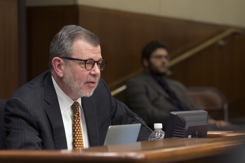 University President Eric Kaler speaks to the House of Representatives' committee on higher education at the Minnesota State Office Building in St. Paul on Jan. 24, 2017.