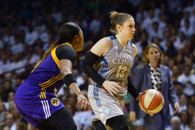 Lynx guard Lindsay Whalen carries the ball up the court during the first game of the WNBA Finals at Williams Arena on Sept. 24, 2017. Whalen helped lead the team to victory, scoring 17 points in the final game against the Los Angeles Sparks.