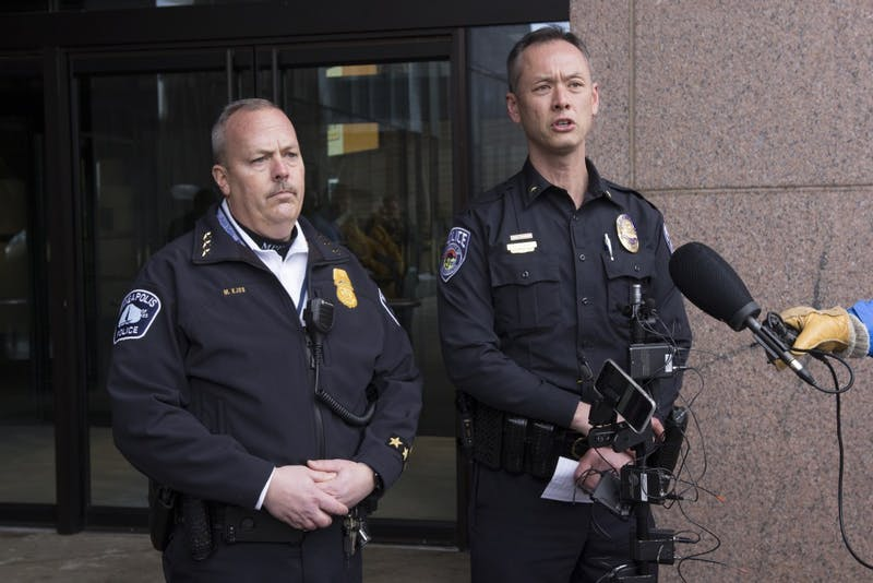 Minneapolis Assistant Police Chief Mike Kjos and UMPD Chief Matt Clark answer questions Tuesday, Jan. 30 after Rashad Bowman's arrest at the Graduate Hotel.