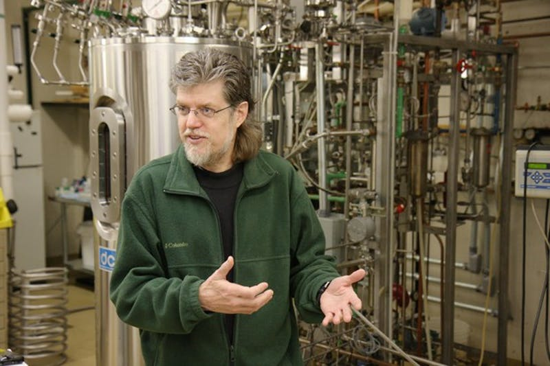 McKnight professor Larry Wackett describes how these large drums were used to mass-produce the enzyme able to detect melamine in milk for use in Bioo Scientific's MaxSignal rapid test kit in Minnesota's BioTechnology Institute Pilot Plant.