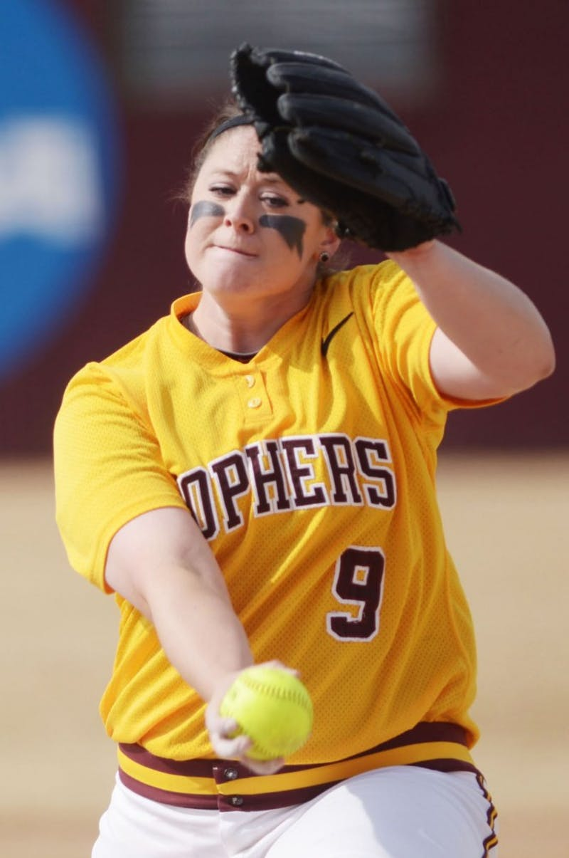 Minnesota junior Sara Moulton pitches during a doubleheader against Wisconsin on Sunday, April 7, 2013, at Jane Sage Cowles Stadium.
