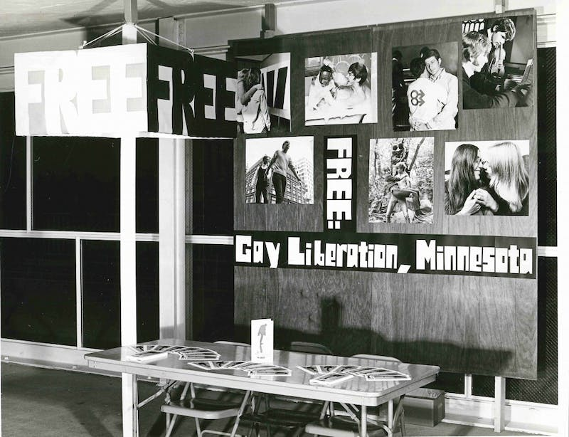 F.R.E.E information table at University of Minnesota welcome week, 1970. Paul H. Hagen