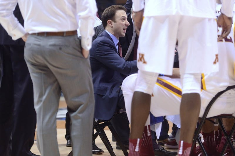 Head coach Richard Pitino talks to the Gophers during a timeout on Thursday, Mar. 16, 2017 in Milwaukee, Wisconsin at the Bradley Center. The Gophers played against Middle Tennessee Blue Raiders.