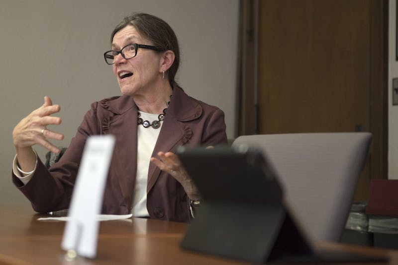 Sue Wick, Director of Undergraduate Studies for the College of Biological Sciences, speaks to the Senate Committee on Student Affairs about student mental health programs at Morrill Hall on Wednesday, Nov. 8.