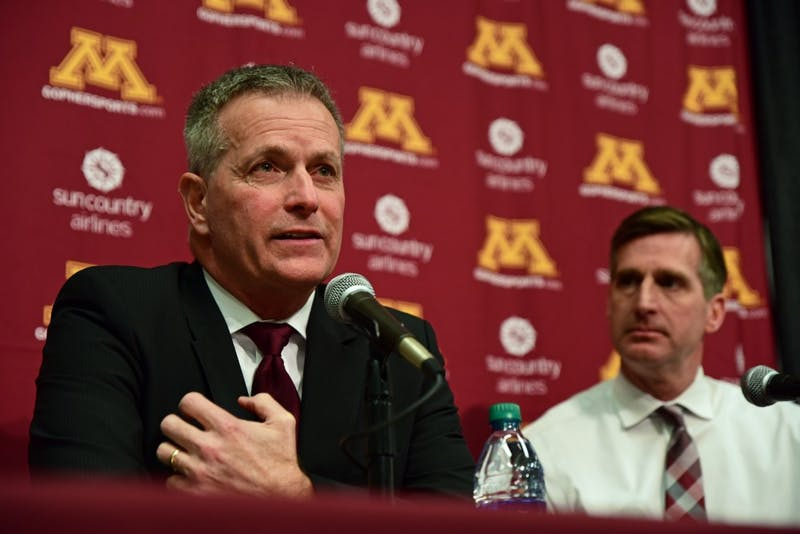 Don Lucia speaks about stepping down as the Gophers men's hockey head coach during a press conference on Tuesday, March 20. Lucia coached the team for 19 years.