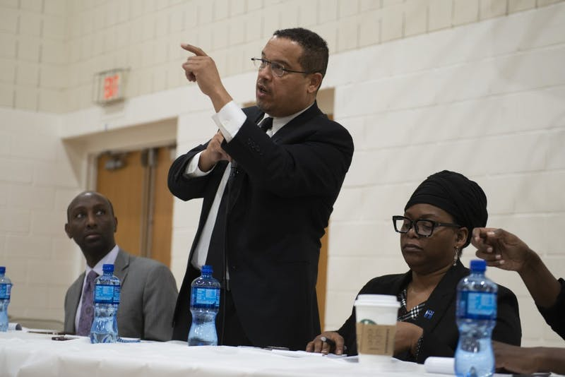 Minnesota Attorney General Keith Ellison speaks during the United Black Legislative Caucus at the Brian Coyle Center in Cedar-Riverside on Wednesday, Feb. 27.
