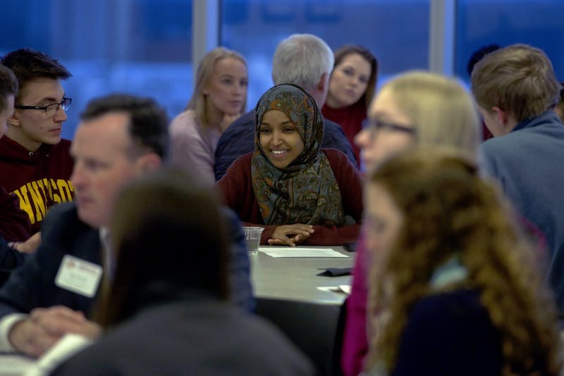 "Rep. Ilhan Omar, DFL-Minneapolis, speaks to students at MSA's ""Cookies with Constituents"" event at the TCF Bank Stadium's Indoor Club Room on Tuesday, Dec. 5."
