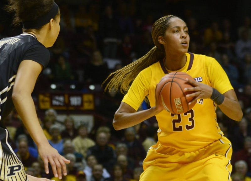 Gophers forward Shae Kelley looks to pass the ball at Williams Arena on Thursday.