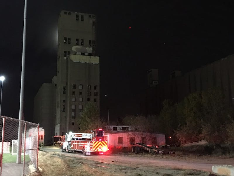 Emergency vehicles at the commercial buildings located at 501 29th Ave SE on Wednesday, Oct. 24.