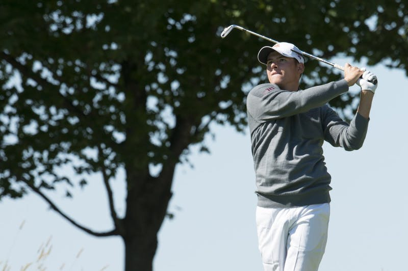 Junior Riley Johnson plays at the Windsong Golf Club during the Gopher Invitational on Sept. 13, 2015.