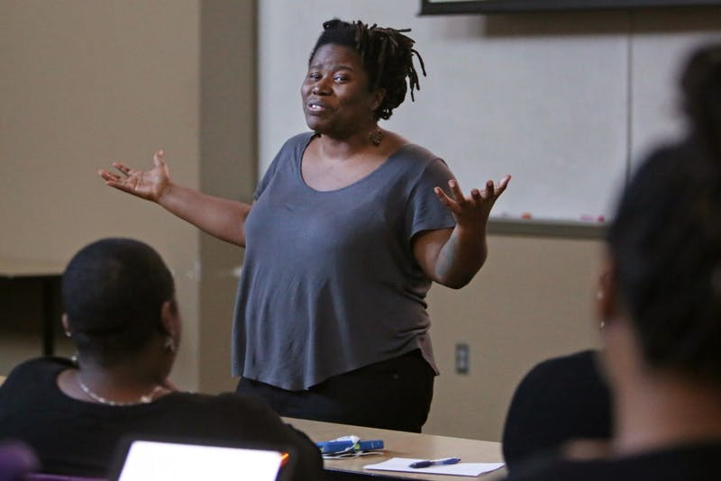 """Irna Landrum presents a seminar on Wednesday, Feb. 14, at Jackson Hall as a part of the Black Student Union's new """"Wellness Wednesdays"""". The seminar covered institutionalized racism and how it contributes to peoples' wellness using an arc from the television show """"The Walking Dead."""""""