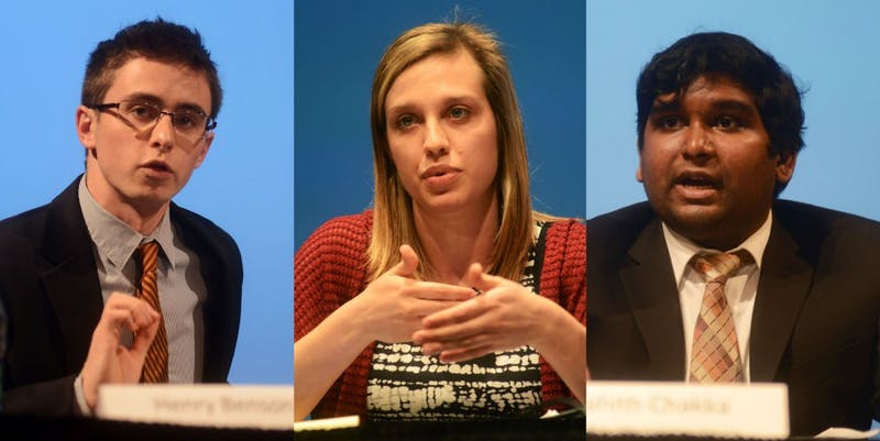 The Minnesota Student Association presidential candidates Henry Benson, Joelle Stangler and Prahith Chakka debate at Coffman Memorial Union on Wednesday evening.