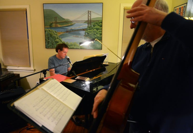"University adjunct law professor Larry McDonough plays an original composition entitled ""Tuscarora"" with his jazz group in his St. Paul home on Monday evening."