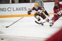 Redshirt senior Nicole Schammel skates toward the puck on Friday, Jan. 18 at Ridder Arena. The Gophers lost to the Wisconsin Badgers 2-1.