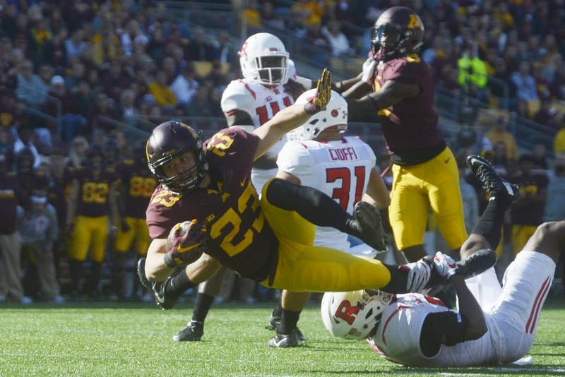 Rutgers takes down Gophers running back Shannon Brooks on Saturday, Oct. 22, 2016 at TCF Bank Stadium.