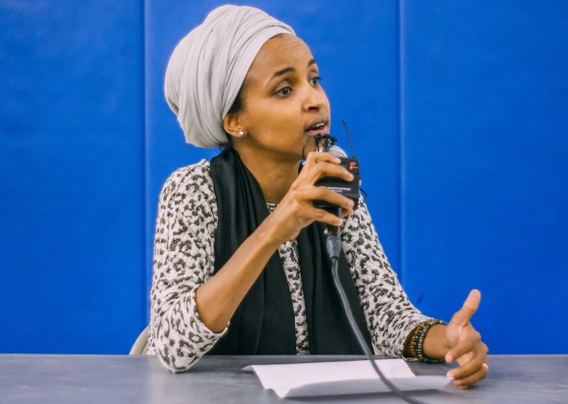 State Rep. Ilhan Omar, DFL-Minneapolis, addresses community concerns about immigration policy changes during the Immigration Resource Fair and Legal Clinic on Saturday, Sept. 30.