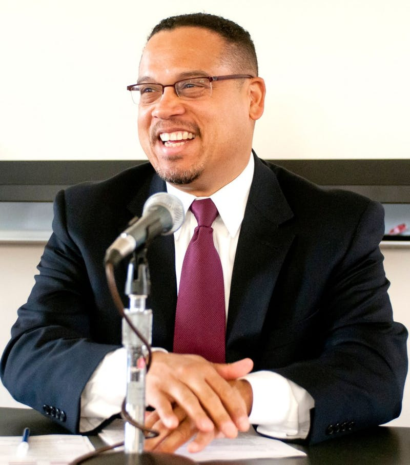 "Congressman Keith Ellison talks about ""putting it all on the table"" on Monday in Nicholson Hall during a speech about foreign policy in Iran."