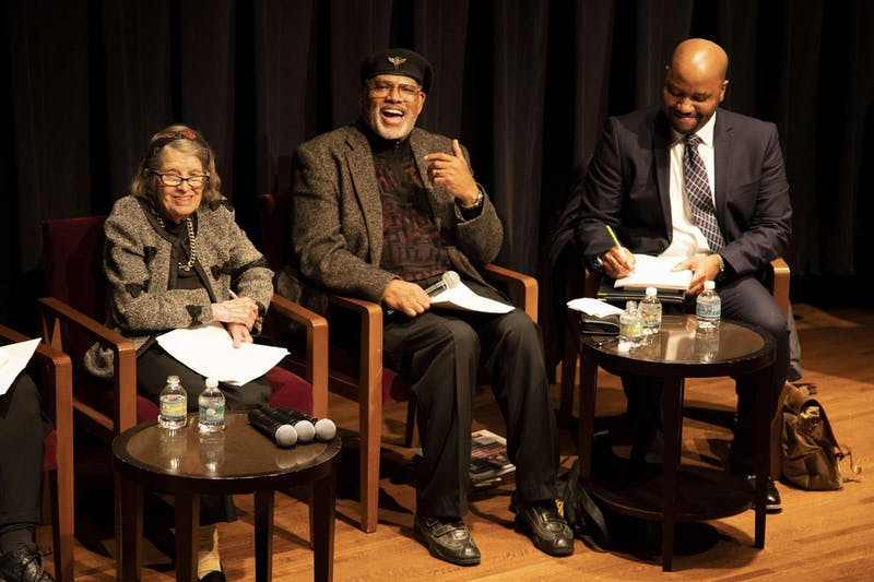 Professor John S. Wright, center, speaks during the Luminaries Lecture Series in Africana Studies at Northrop Auditorium on Thursday, Nov. 14.