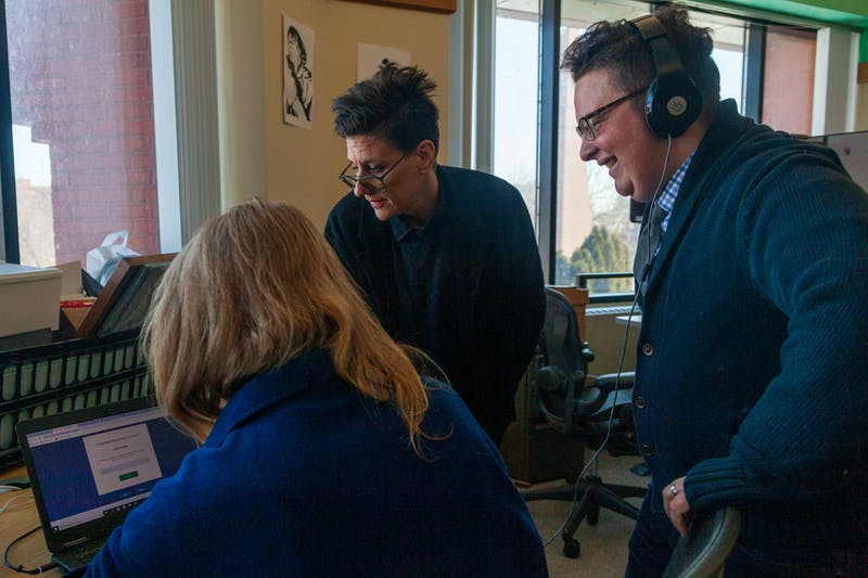 From right, Oral Historian Myrl Beam, Project Assistant Myra Billund-Phibbs and Tretter Collection Curator Rachel Mattson converse in the Tretter Collection offices on Tuesday, Feb. 18. With Audio Producer Cassius Adair (not pictured) they are working to produce a podcast which aims to share trans activist histories, drawing on interviews obtained for the University of Minnesota's Tretter Tansgender Oral History Project.