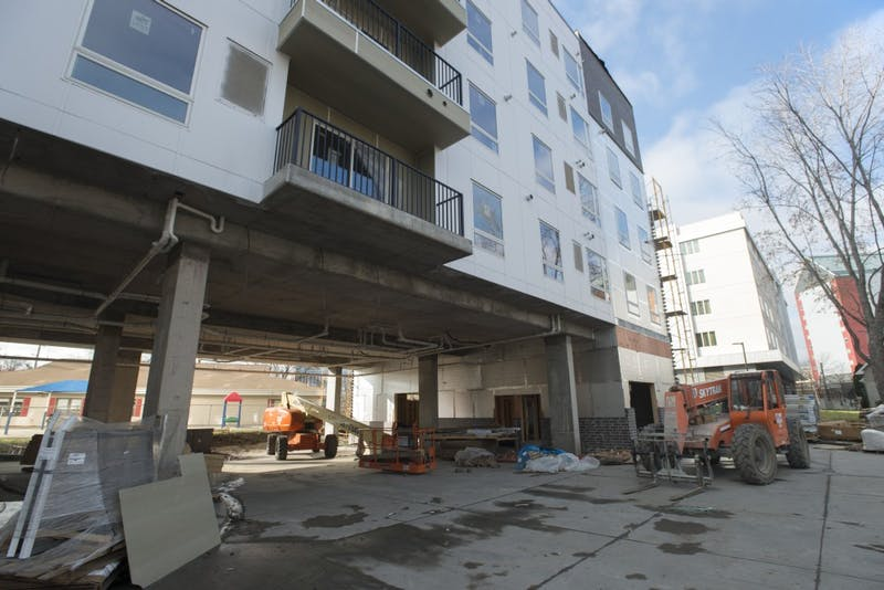 Prime Place Apartments, recently rebranded as The Arrow Apartments, seen under construction on Sunday, Nov. 12.