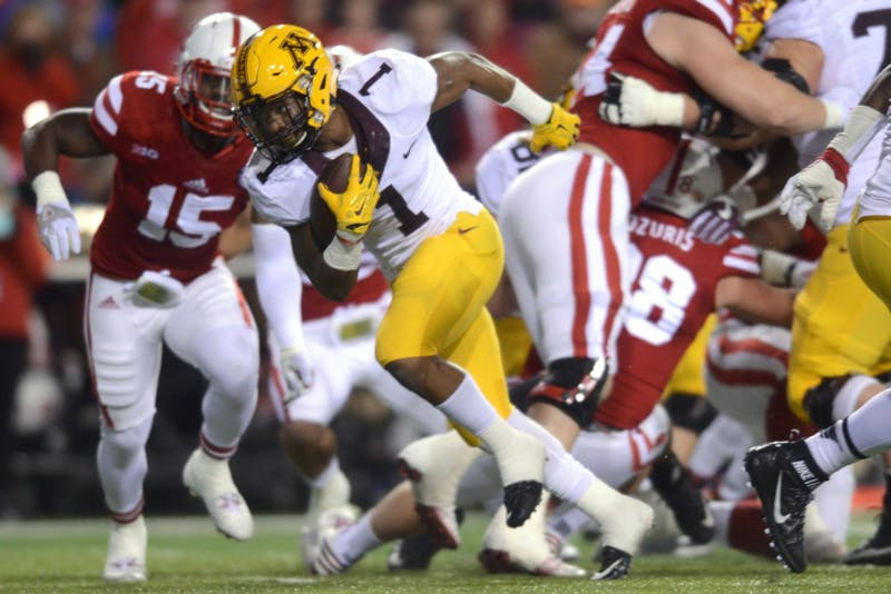 Gophers running back Rodney Smith runs the ball against the Cornhuskers at Memorial Stadium in Lincoln, Nebraska on Saturday, Nov. 12, 2016.