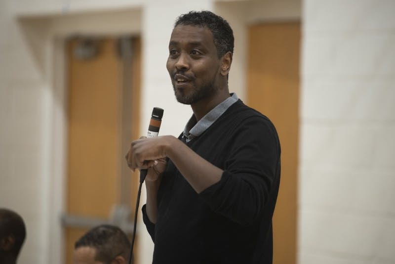 City Council Member Abdi Warsame speaks during the United Black Legislative Caucus at the Brian Coyle Center in Cedar-Riverside on Wednesday, Feb. 27.