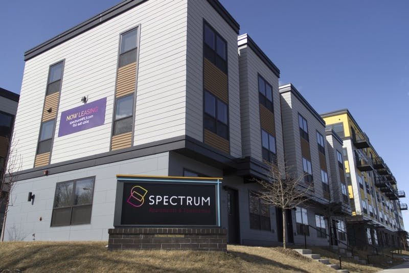 The Spectrum Apartments & Townhomes, as pictured on April 1, completed construction in 2017. Under city code, developers must pay park dedication fees to neighborhood organizations for projects planned after January 2014.