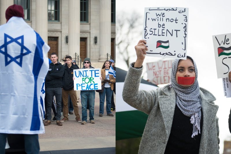 """(left) Members of Students Supporting Israel gather outside Northrop on Friday to show their support for Israel. The group held the rally to protest terrorism.  (right) Amanda Hassan shows her support for Palestine at a demonstration near Northrop on Friday, where Students Supporting Israel also held a rally. """"There can be no peace without justice, so I am here to show solidarity with the Palestinian people facing injustices in their occupied territory,"""" she said."""
