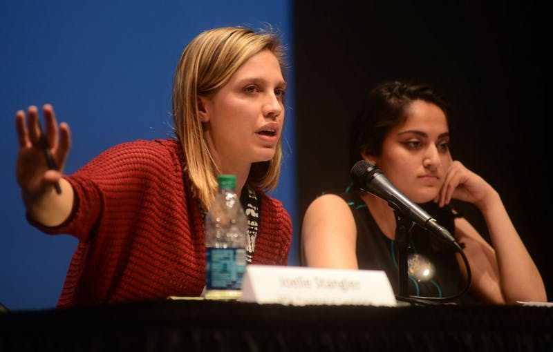 Minnesota Student Association presidential candidate Joelle Stangler talks about her visions for the student group's future at the election debate at Coffman Memorial Union on April 8. Stangler was elected MSA president on Saturday.