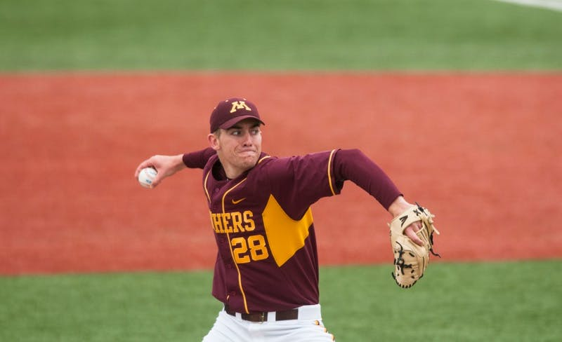 Gophers pitcher Ben Meyer pitches during a game against Nebraska at Siebert Field on April 13. 2014. On Sunday, Meyer signed with the Miami Marlins.