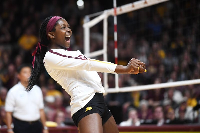 Freshman Adanna Rollins celebrates after the gopher's score against Iowa on Friday, Oct. 19, 2018 at Maturi Pavilion.