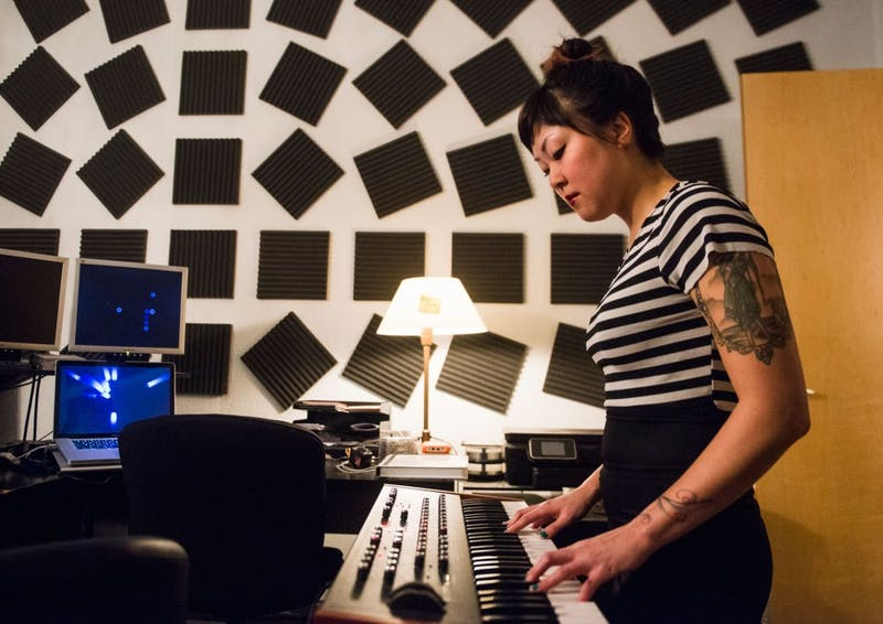 Nicole Pfeifer practices on March 18 in the St. Paul studio where the latest Devata Daun album was recorded. Pfeider will perform at Acadia on West Bank on March 27.