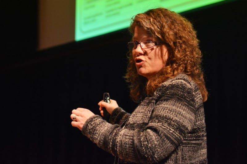 Heidi  Rehm speaks on genomic variant interpretation at the Consortium on Law and Values in Health, Environment and the Life Sciences at Northrop Auditorium's Best Buy Theater on Thursday.