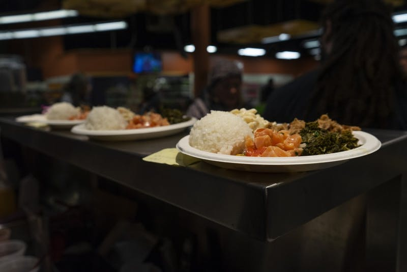Hawaiian plate lunches are lined up at the food window at United Noodles on Sunday, Nov. 11 in Minneapolis. The Asian grocery story and restaurant held a traditional Hawaiian luau.