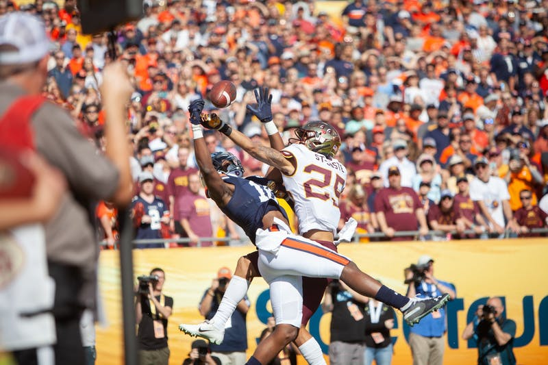 Gophers Defensive Back Benjamin St-Juste leaps for an Auburn pass at Raymond James Stadium in Tampa, Florida on Wednesday, Jan. 1. Minnesota holds a 24-17 lead over Auburn heading into the third quarter of the Outback Bowl. (Kamaan Richards / Minnesota Daily)